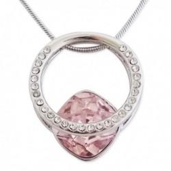 Collier à pendentif en forme de bague avec fausse pierre rose