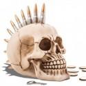 Tirelire en forme de crâne punk