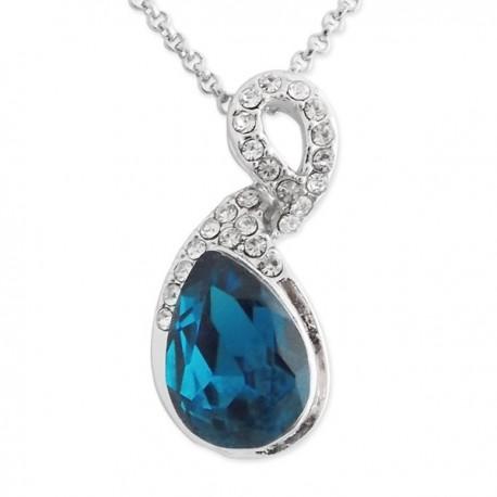 Collier argenté à pendentif goutte bleu