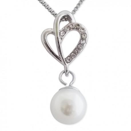 Collier avec pendentif à strass et fausse perle