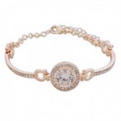 Bracelet doré à strass et fausse pierre blanche
