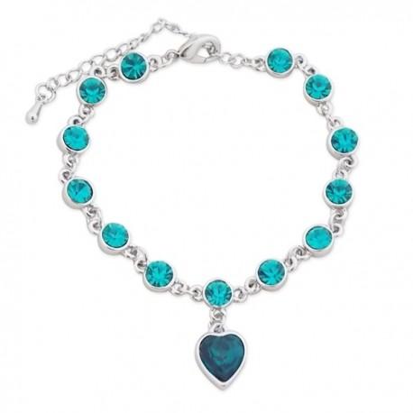Bracelet argenté de faux cristaux bleus verts