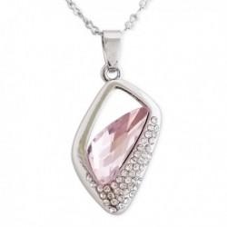 Collier argenté à pendentif losange creux à strass et faux cristal rose