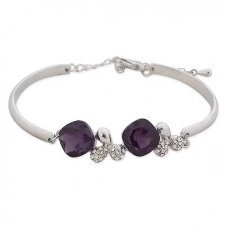 Bracelet argenté et deux faux cristaux violets