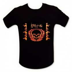 T-shirt tête de mort en flamme LED