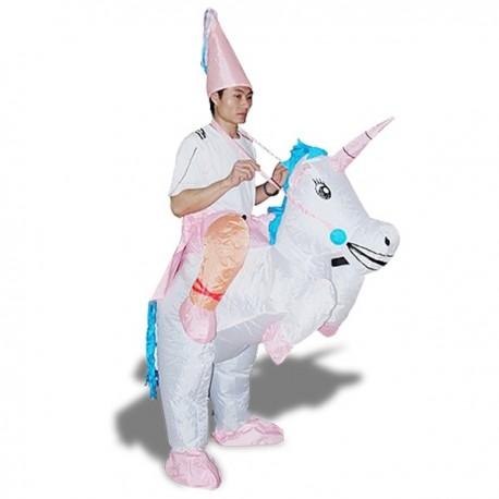 Costume gonflable magicien assis à dos de licorne