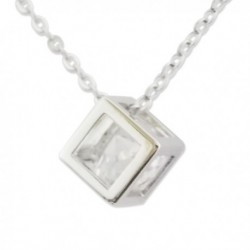 Collier argenté à pendentif cube avec faux diamant blanc