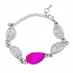 Bracelet argenté de feuilles à strass et faux cristal rose
