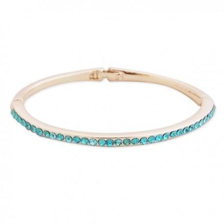 Bracelet rigide doré avec une rangé de strass bleus