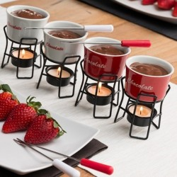 Lot de 4 fondues miniatures en céramique