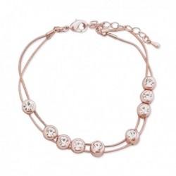 Bracelet doré deux chaînes lisses et faux cristaux blancs