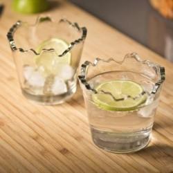 Duo de verres polis à bords déchiquetés