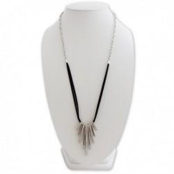 Collier avec pendentif 9 anneaux allongés argentés strass