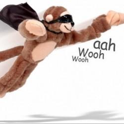 Peluche singe volant catapulte
