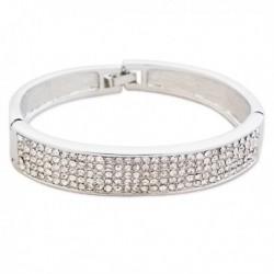 Bracelet argenté large et strass blancs
