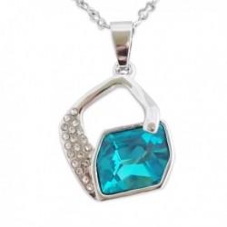 Collier avec pendentif losange et faux cristal turquoise