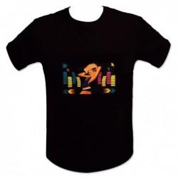 T-shirt noir DJ femme blonde LED