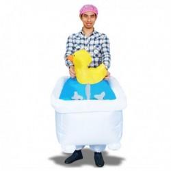 Costume gonflable homme dans sa baignoire
