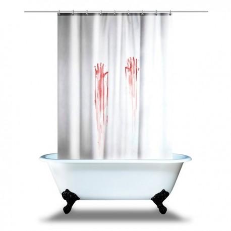Rideau de douche traces de mains en sang