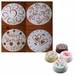 4 pochoirs fantaisie pour gâteau