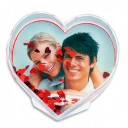 Cadre photo en cœur avec confettis