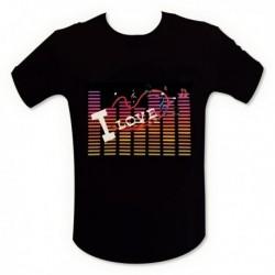 """T-shirt """"I Love musique"""" à lumières LED"""