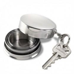 Porte-clés avec mini verre rétractable en acier inoxydable