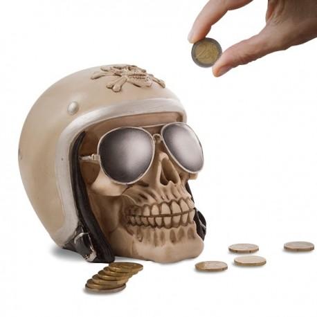 Tirelire en forme de crâne de motard en polyrésine