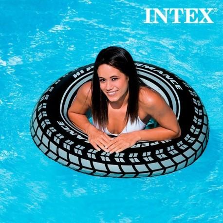 Bouée gonflable en vinyle imitation pneu géant noir et blanc