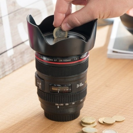 Tirelire imitation objectif d'appareil photo