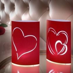 Lampions avec lumières LED avec cœurs (lot de 2)