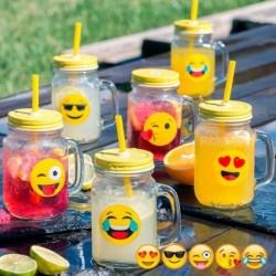 Mason jar vintage emoticone avec paille