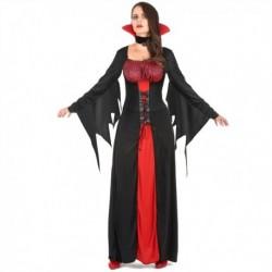 Déguisement pour femme vampire robe rouge et noire