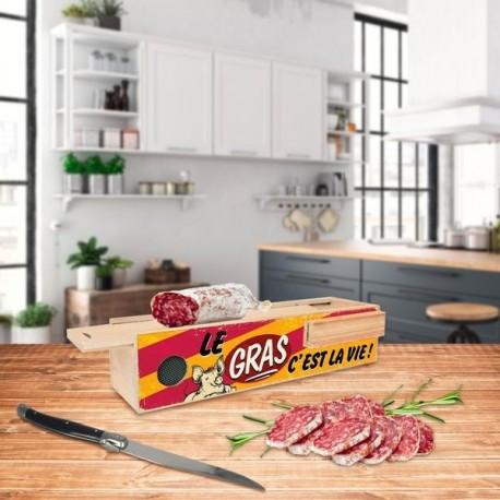 Boite de rangement pour saucisson avec couteau