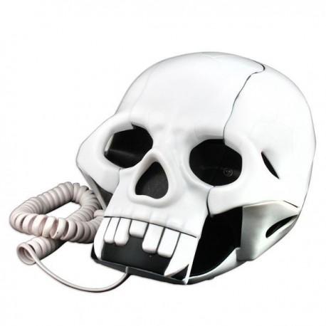 Téléphone fixe tête de mort blanc