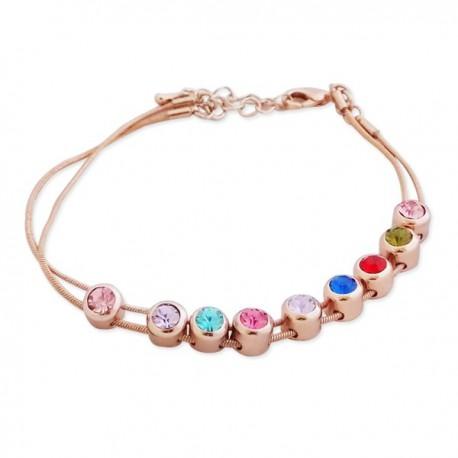 Bracelet double-chaîne avec 9 faux cristaux multicolores