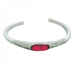 Bracelet argenté strass et faux diamant rose