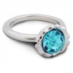 Bague argentée avec faux cristal bleu turquoise