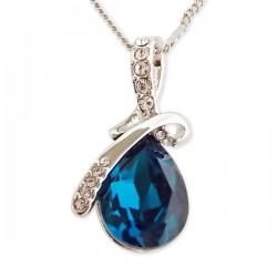 Collier avec pendentif goutte bleue et strass