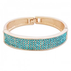 Bracelet doré avec strass bleus turquoises