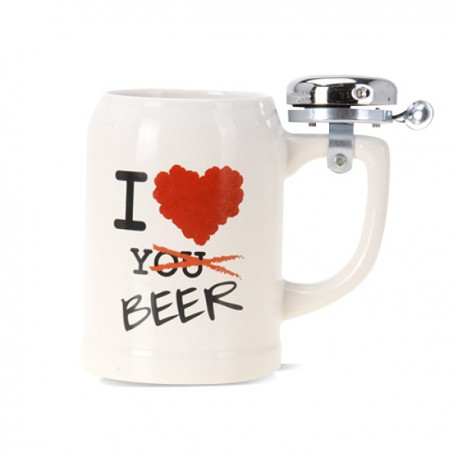 Chope de bière avec sonnette I Love Beer 500ml