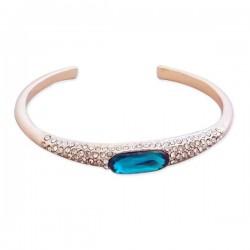 Bracelet fantaisie doré à strass et faux cristal turquoise