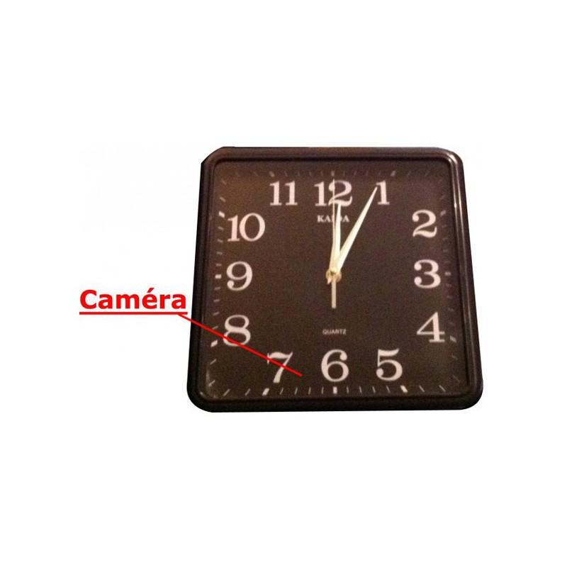 Horloge murale carr e avec cam ra espion 4go - Tablette murale carree ...