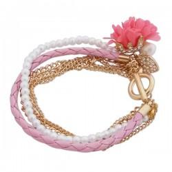 Bracelet doré à rose en tissu, perles blanches et strass