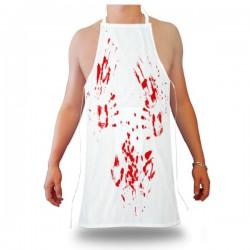 Tablier blanc imprimé à traces de sang