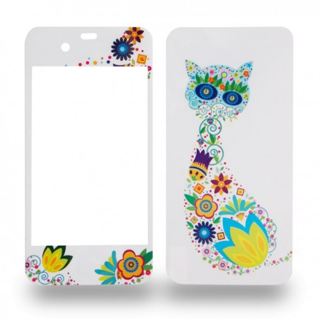 Autocollants motif chat fleuri pour iPhone 4