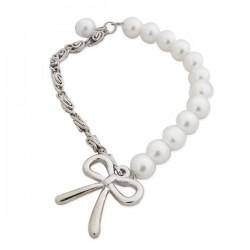 Bracelet de perles blanches avec nœud argenté