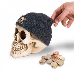 Tirelire crâne avec bonnet de pirate