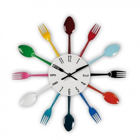 Horloge murale en cercle de fourchettes et cuillères colorées