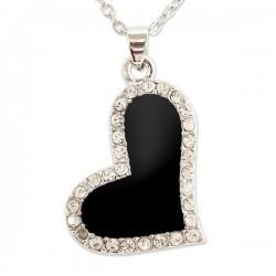Collier pendentif coeur noir et strass